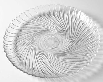 Arcoroc Clear Glass Seabreeze/Swirl Design Large Dinner Plate -New- Made In France