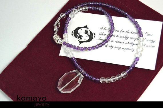 PISCES NECKLACE - Clear Quartz Pendant and Purple Amethyst Beads - 17.75 Inches