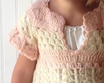 Vintage Hand Crocheted Toddler Dress