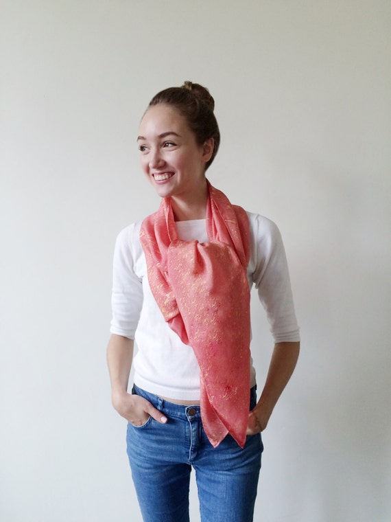 Pink Scarves-Pink Scarf-Gold-Long Scarf-Long Scarves-Wrap Scarf-Summer Cover Up-Sarong-Long Summer Scarf-Light Weight Scarf-Gift For My