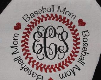 Monogram Baseball Mom Tshirt