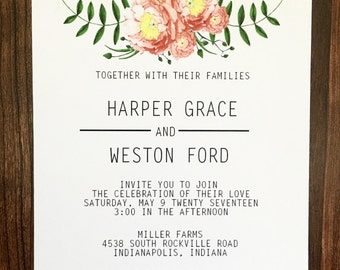 Flower Floral Simple Wedding Inviations