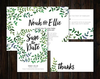 Watercolor Natural Leaves Wedding Invitation Suite - PRINTABLE