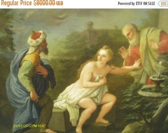 """20% Off Sale Sale Elegant and Rare 18th Century Oil Painting """"Suzanne and the Elders"""""""