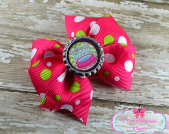 Let's Go Swimming Brightly Colored Pinwheel Bow
