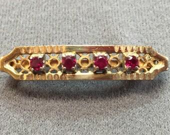 Pretty Retro Gold-filled Ruby Bar Brooch.  Free shipping
