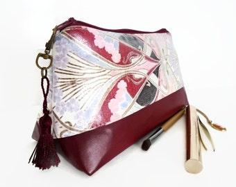 Makeup Bag, Cosmetic bag, two toned, Art Nouveau, waterproof, Toiletry Bag