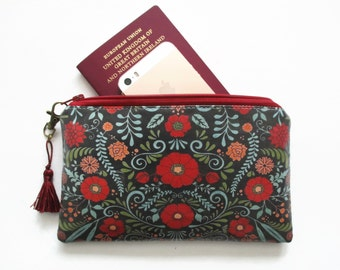 Waterproof Primitive Flower wallet/purse/clutch/card/notes/passport holder