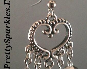 Silver Crystal Chandelier Earrings / silver heart earrings / silver chandelier earrings / crystal chandelier earrings / bridesmaid gifts