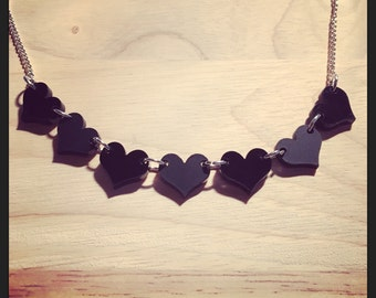 Black Hearts Matte & Gloss Acrylic Necklace