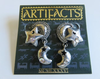 JJ Jonette Genuine Pewter Celestial Moon And Stars With Crystals Pierced Earrings