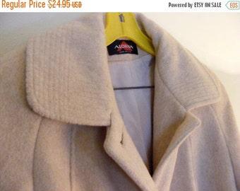 51% OFF 1980's Alorna Misses' Wool Blend Cream Overcoat
