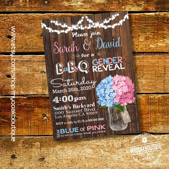 Bbq Gender Reveal Invitation Baby Q Gender Reveal Invite