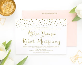 PRINTABLE Wedding Invitation - Gold Confetti Dots and Modern Calligraphy - Modern Invitation - Sprinkled with Love Wedding Invitation