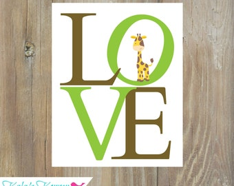 JUNGLE NURSERY DECOR - Love Print - Animal Print - 8x10 Print - Nursery Decor