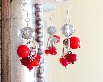 Earrings, red silver  earrings, glass earrings, coral, rubin beads