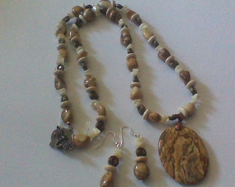 Picture Jasper Necklace and Earrings