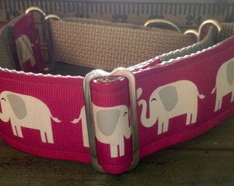 "Large * XL * Dog Collar*  Elephants 1.5"" width Buckle OR Martingale"