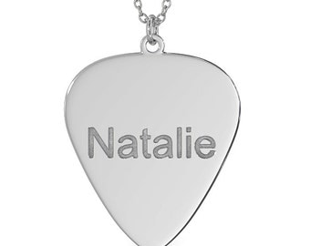 Guitar Pick Gold Plated Necklace with Name