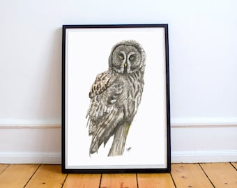 Great Owl Watercolour Print Painting Giclee Archival Wildlife Gift