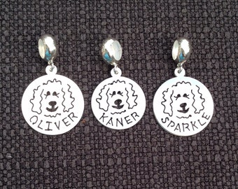 Custom Name Goldendoodle - Labradoodle  Disc Dangle Charm Bead fits popular bead bracelets - up to 6 letters - Part of the Clyde Fundraiser
