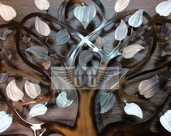 Tree of Life Wall Art Pearl White with Sparkle Tips