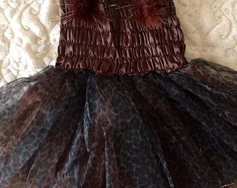 Brown Cheetah Tutu Dress Size 2T