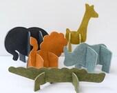 Felt 3D Puzzle Animals PDF Sewing Pattern - Set of 5 Zoo Animals