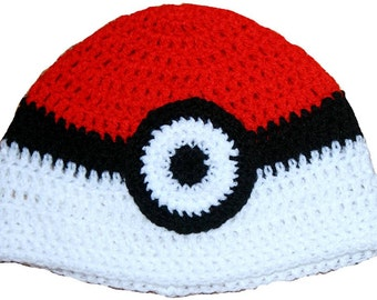 Pokeball Inspired Hand Crocheted Hat