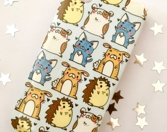 iPhone 4 case, cute pets hard plastic protective case, cat, hedgehog, bunny, rabbit, hamster, animal design, gift idea, kids