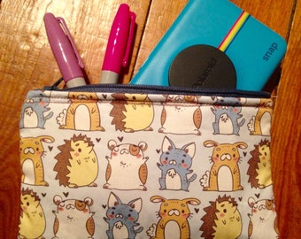 Padded Accessory Pouch, pets pattern, nintendo 3ds, camera, ipod, phone protective zip up case, pencil case, cat, bunny, hedgehog, hamster
