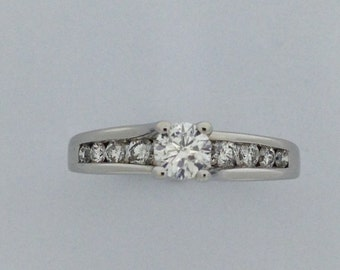 Genuine Diamond Engagement Ring 14kt White Gold