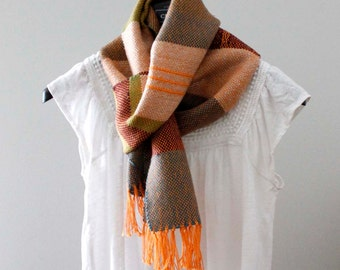 Woven Scarf, Fall Scarf, Handwoven Scarf, Womens Scarf, Gift For Her, Wool Scarf, Boho Scarf, Colorful Scarf, Statement Scarf, Soft Scarf