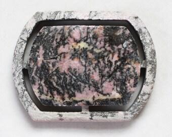 Rhodonite Gemstone Carved Cabochon - 35mm x 45mm