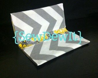 Checkbook Cover Gray & White Chevron - Other Colors and Designs Available!