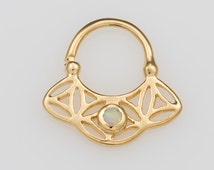 Solid Gold Opal Septum Ring For Pierced Nose, Flower Of Life, Sacred Geometry, Septum Jewelry, 18g Septum, Nose Piercing