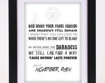Guns N Roses 'November Rain' Printed Lyrics Poster - available in A4 and A3 // Gift Ideas // Rock // Typography