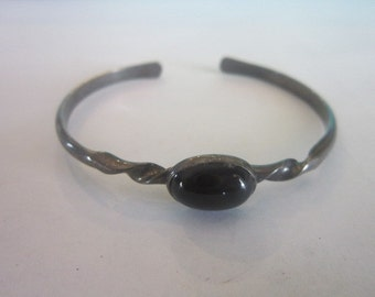 Antique Native American Sterling Silver and Black Onyx Cuff Bracelet