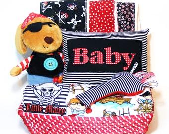 Pirate Baby Gift Basket- Gift Set Handmade 9 Piece Set