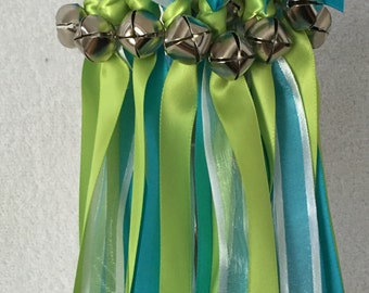 50 Wedding Wands/Wedding Ribbon Wands/Wedding Wand/Apple Green, Turquoise and White Sheer/Wedding Streamers