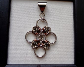Mixed Metal Japanese Cross Pendant; Chainmail Pendant; Chainmaille Pendant; Chain Mail Pendant; Chain Maille Necklace
