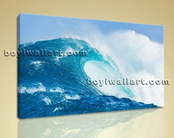 Modern Home Decor Abstract Wall Art On Canvas Hd Print Ocean Waves Surf Beach, Large Sea Wave Wall Art, Bedroom, Oyster Bay