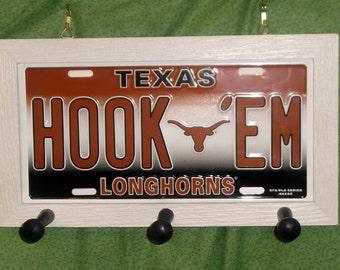 Texas Longhorns License Plate Peg Hanger