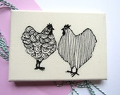2 Chickens Mini Embroidered Canvas
