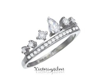 Sterling Silver Crown Ring,Tiara Ring,Crown Jewelry