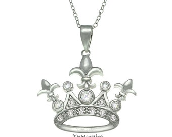 925 Sterling Silver Rhodium Plated Crown Necklace,Silver Crown Jewerlry