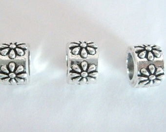 Antique Silver Color Daisy Flowers on Round Large Hole Bead, 2 in a Pack, CLJewlerySupply