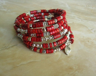 Red Memory Wire Bracelet with Silver Accents (#412)