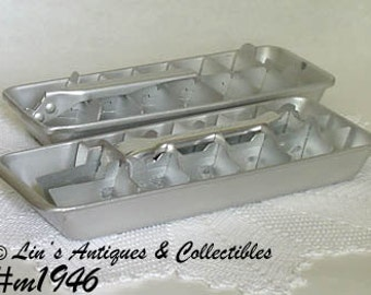 Aluminumware 2 Vintage Ice Cube Trays One is Marked Cold Spot (Inventory #M1946)