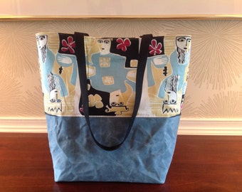 Mid century fabric meets modern tote.